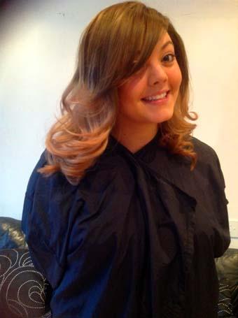 Dip dye hair brown to light brown