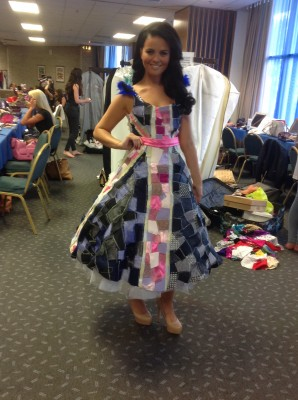 Holly in her Eco Dress backstage