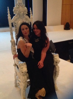 Jess and Holly messing about on The Miss England Throne. Sadly no sense of Humour round to Miss England