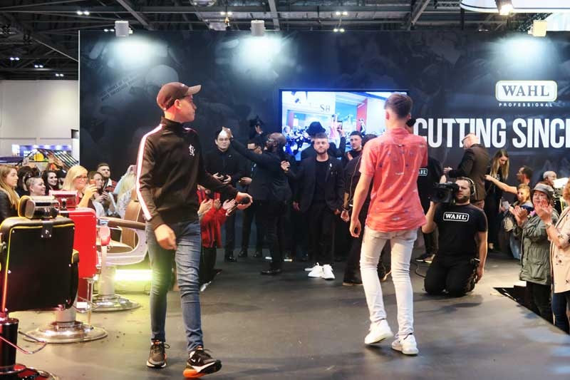 Max and Harvey entertaining on the Wahl stage at Salon International